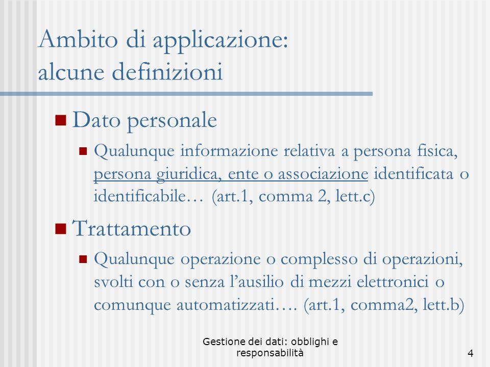 Gestione dei dati: obblighi e responsabilità14 Misure minime.