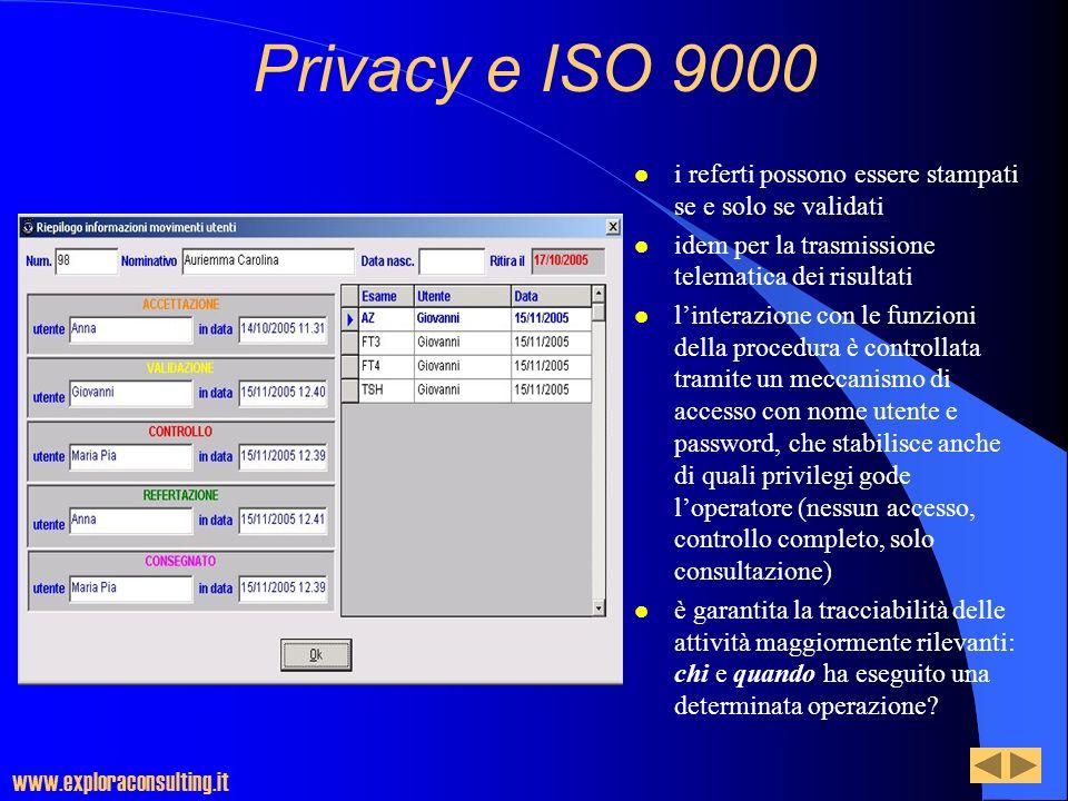 Privacy e ISO 9000 l i referti possono essere stampati se e solo se validati l idem per la trasmissione telematica dei risultati l linterazione con le