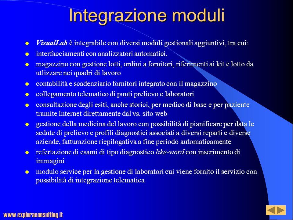 Integrazione moduli l VisualLab è integrabile con diversi moduli gestionali aggiuntivi, tra cui: l interfacciamenti con analizzatori automatici. l mag