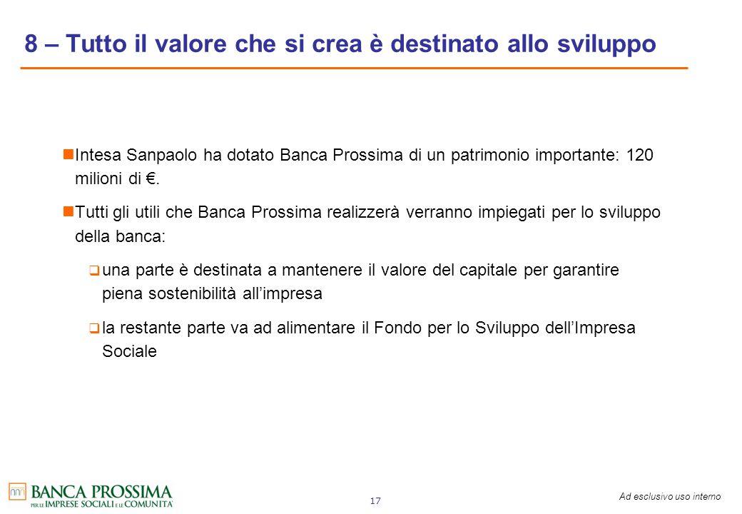 Ad esclusivo uso interno 17 Intesa Sanpaolo ha dotato Banca Prossima di un patrimonio importante: 120 milioni di. Tutti gli utili che Banca Prossima r