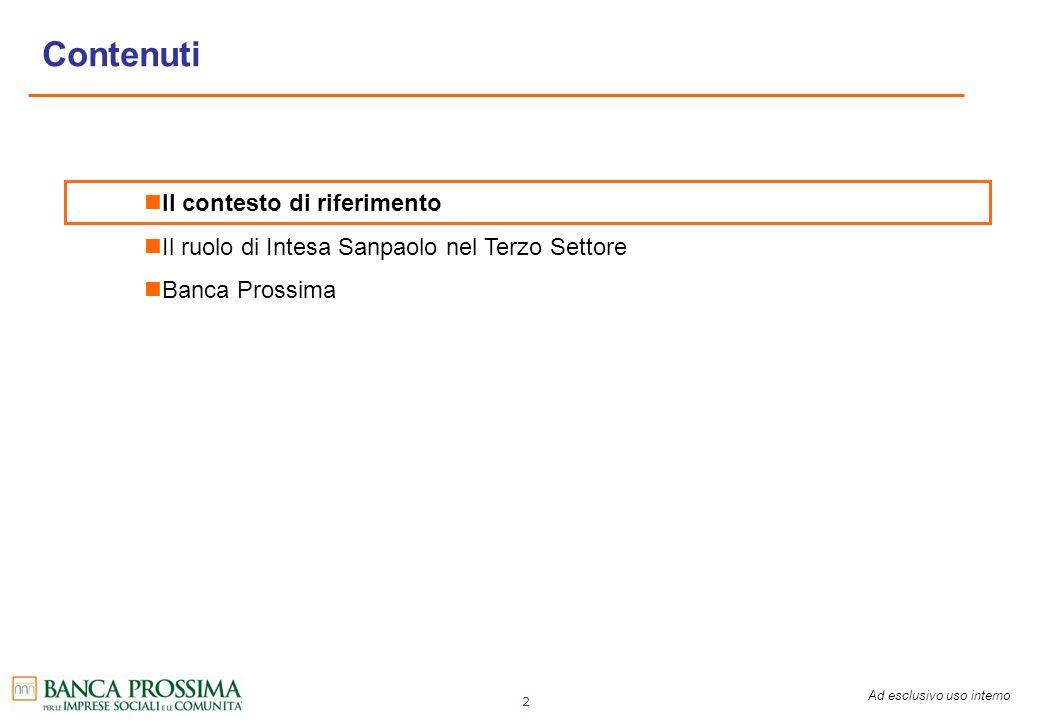 Ad esclusivo uso interno 2 Il contesto di riferimento Il ruolo di Intesa Sanpaolo nel Terzo Settore Banca Prossima Contenuti
