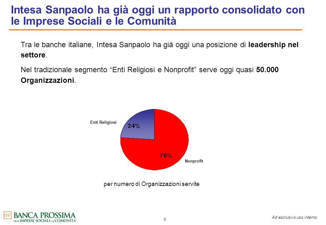 Ad esclusivo uso interno 6 Tra le banche italiane, Intesa Sanpaolo ha già oggi una posizione di leadership nel settore. Nel tradizionale segmento Enti