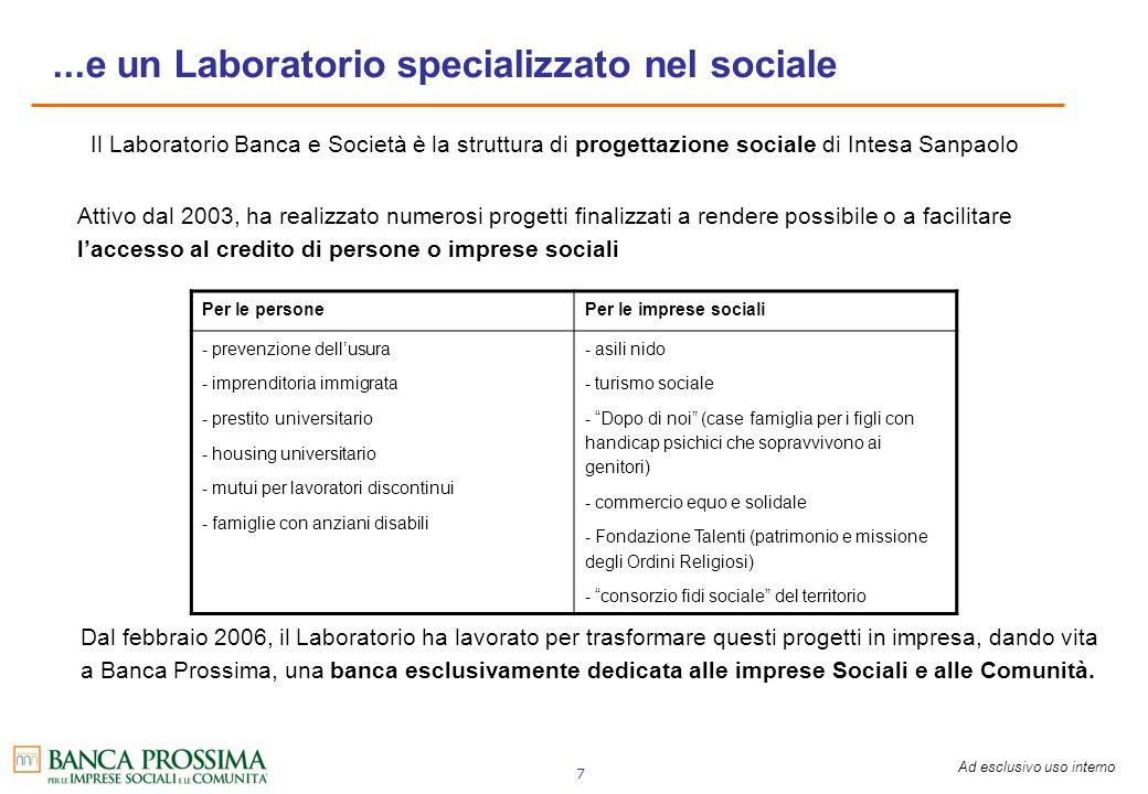 Ad esclusivo uso interno 7...e un Laboratorio specializzato nel sociale Il Laboratorio Banca e Società è la struttura di progettazione sociale di Inte