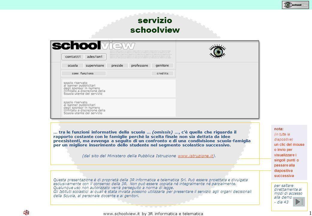 www.schoolview.it by 3R informatica e telematica 22 oScuola oDirigente scolastico oSupervisore o segreteria del servizio oDocenti oDiscenti oGenitori ________________________________ SCHOOLVIEW Il servizio I soggetti interessati Gli utenti Le informazioni Le operazioni La sicurezza I soggetti interessati
