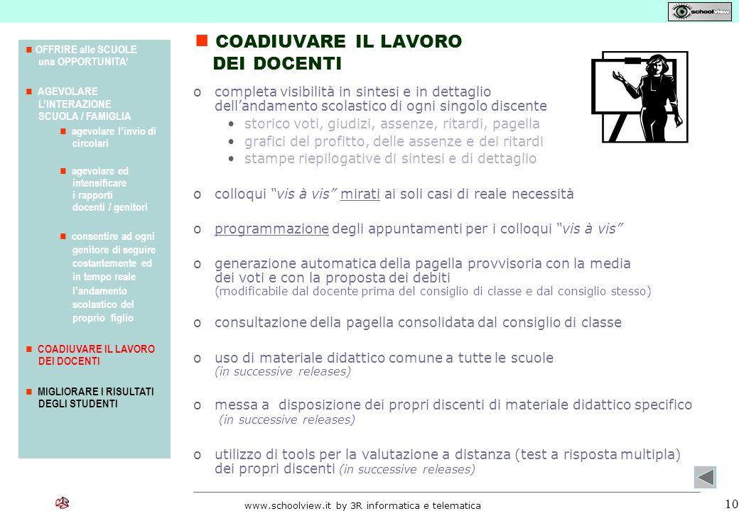 www.schoolview.it by 3R informatica e telematica 10 ocompleta visibilità in sintesi e in dettaglio dellandamento scolastico di ogni singolo discente s
