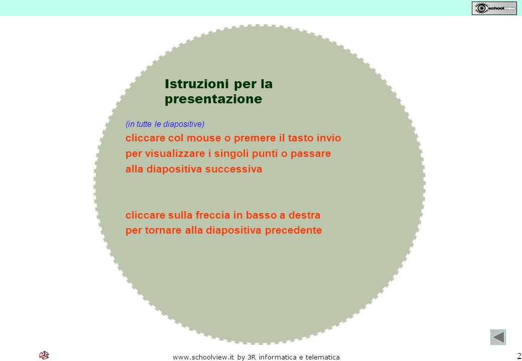 www.schoolview.it by 3R informatica e telematica 2 Istruzioni per la presentazione (in tutte le diapositive) cliccare col mouse o premere il tasto inv
