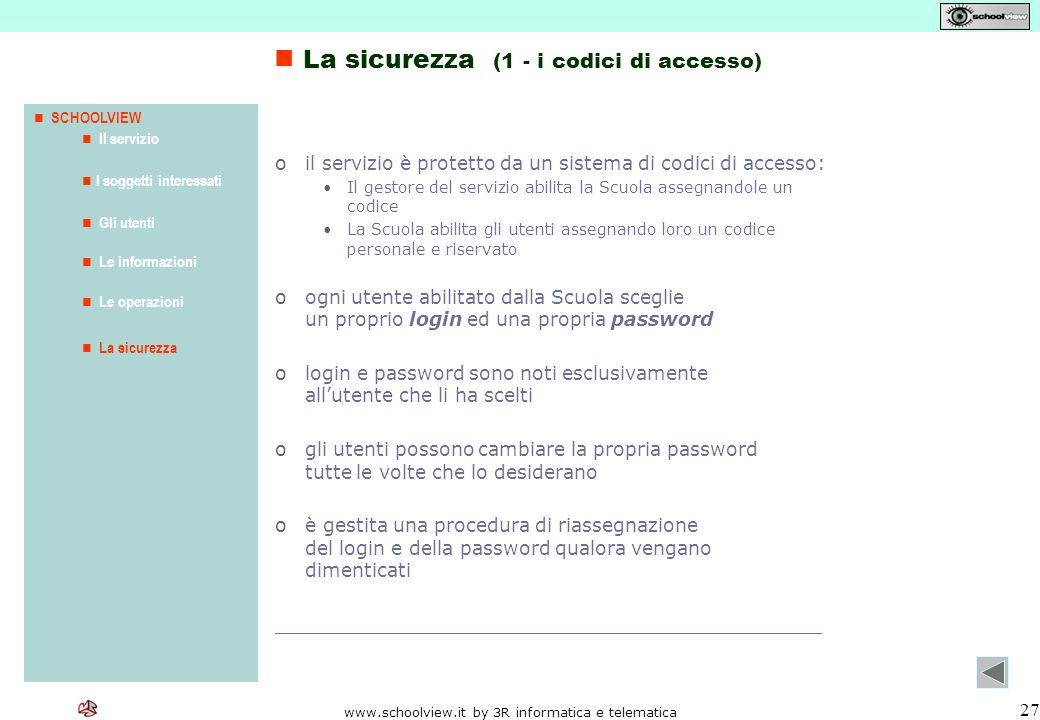 www.schoolview.it by 3R informatica e telematica 27 oil servizio è protetto da un sistema di codici di accesso: Il gestore del servizio abilita la Scu