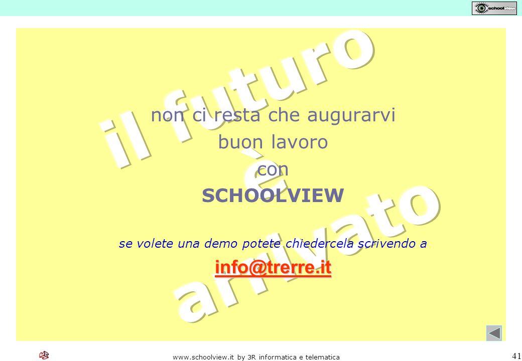www.schoolview.it by 3R informatica e telematica 41 non ci resta che augurarvi buon lavoro con SCHOOLVIEW se volete una demo potete chiedercela scrivendo a info@trerre.it