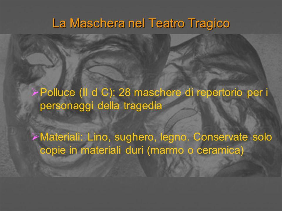 La Maschera nel Teatro Tragico Polluce (II d C): 28 maschere di repertorio per i personaggi della tragedia Materiali: Lino, sughero, legno. Conservate