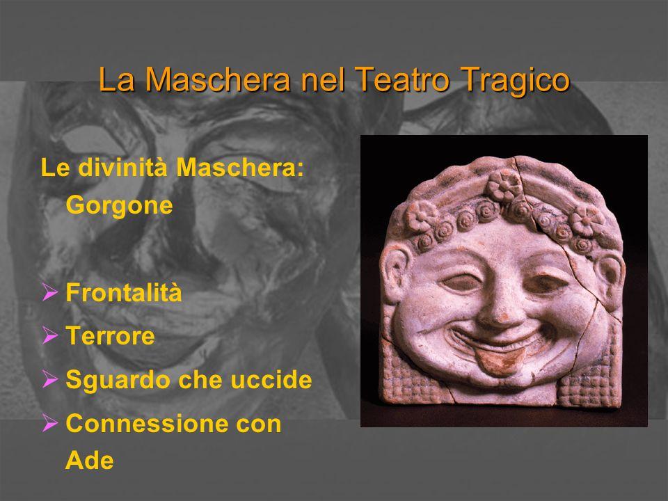 La Maschera nel Teatro Tragico Le divinità Maschera: Praxìdikai Daimones - Phoberà pròsopa Connessione con lacqua e i giuramenti Le immagini di terrore infantile Mormò – Mormolykeion: il babau.