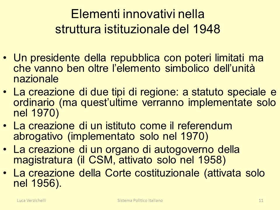 Luca VerzichelliSistema Politico italiano11 Elementi innovativi nella struttura istituzionale del 1948 Un presidente della repubblica con poteri limit