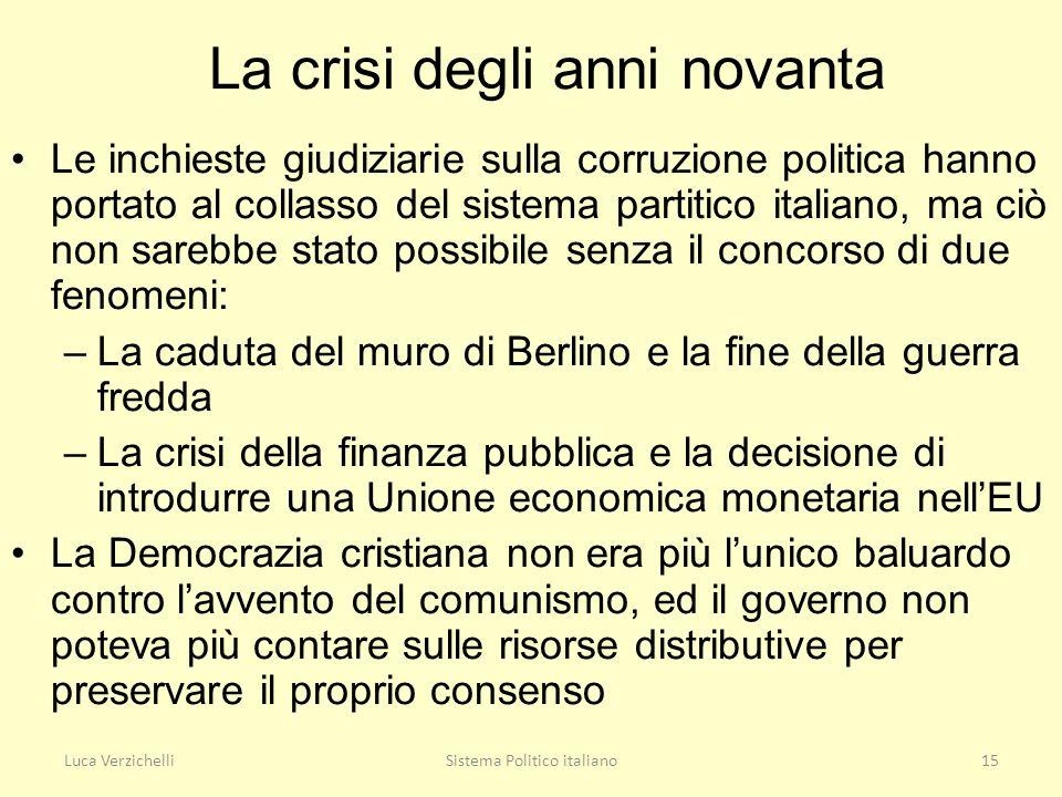 Luca VerzichelliSistema Politico italiano15 La crisi degli anni novanta Le inchieste giudiziarie sulla corruzione politica hanno portato al collasso d