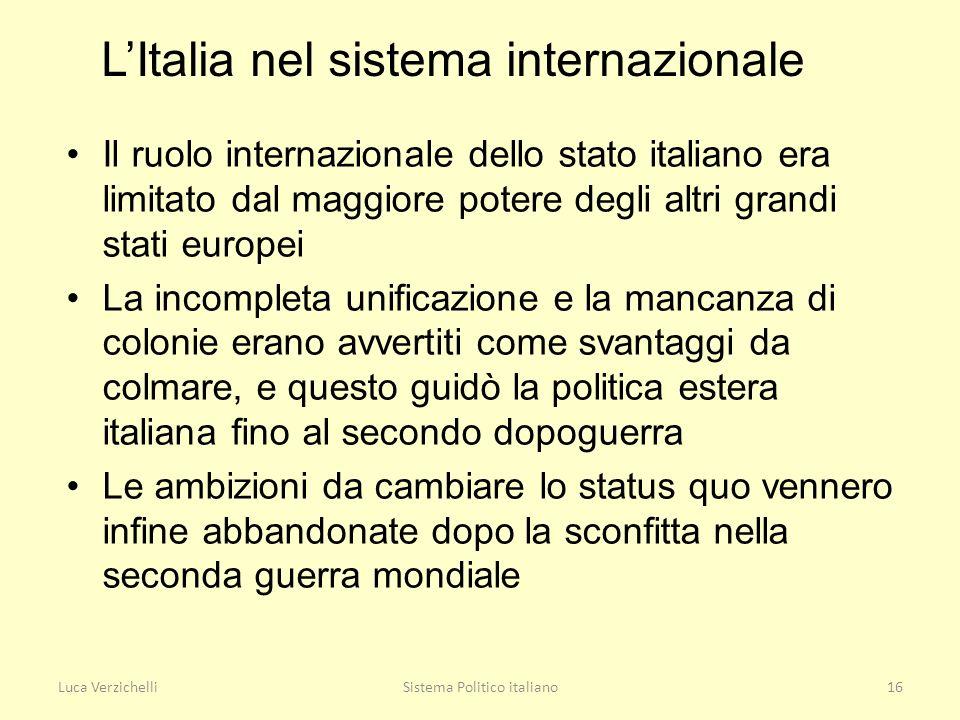 Luca VerzichelliSistema Politico italiano16 LItalia nel sistema internazionale Il ruolo internazionale dello stato italiano era limitato dal maggiore