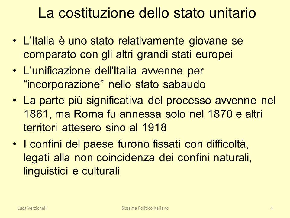 Luca VerzichelliSistema Politico italiano4 La costituzione dello stato unitario L'Italia è uno stato relativamente giovane se comparato con gli altri