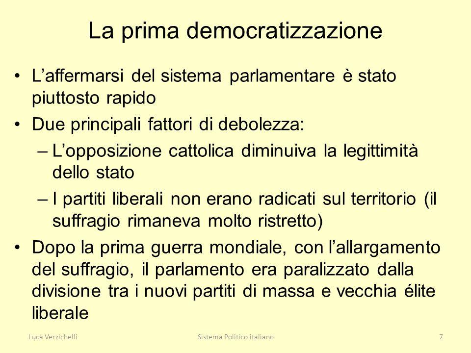Luca VerzichelliSistema Politico italiano7 La prima democratizzazione Laffermarsi del sistema parlamentare è stato piuttosto rapido Due principali fat