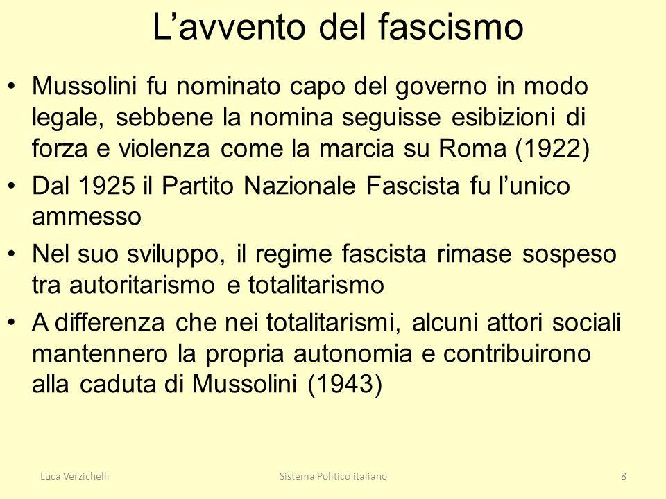 Luca VerzichelliSistema Politico italiano8 Lavvento del fascismo Mussolini fu nominato capo del governo in modo legale, sebbene la nomina seguisse esi