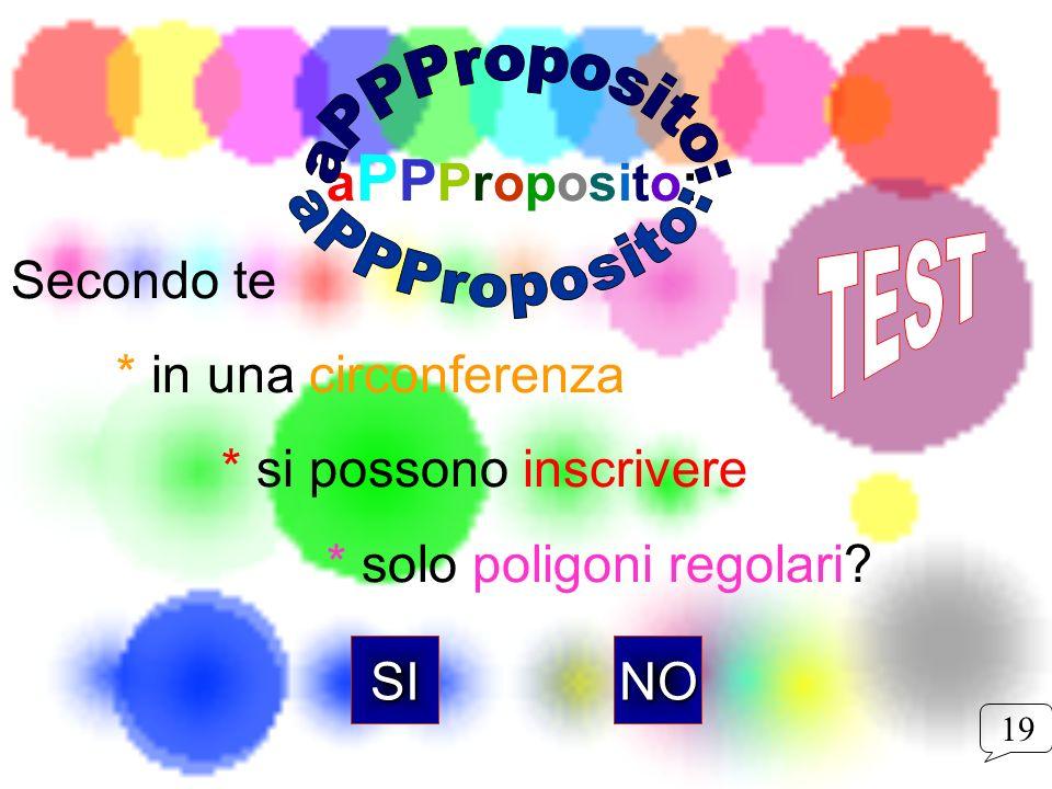 a P P Proposito: Secondo te * in una circonferenza * si possono inscrivere * solo poligoni regolari? NOSI 19