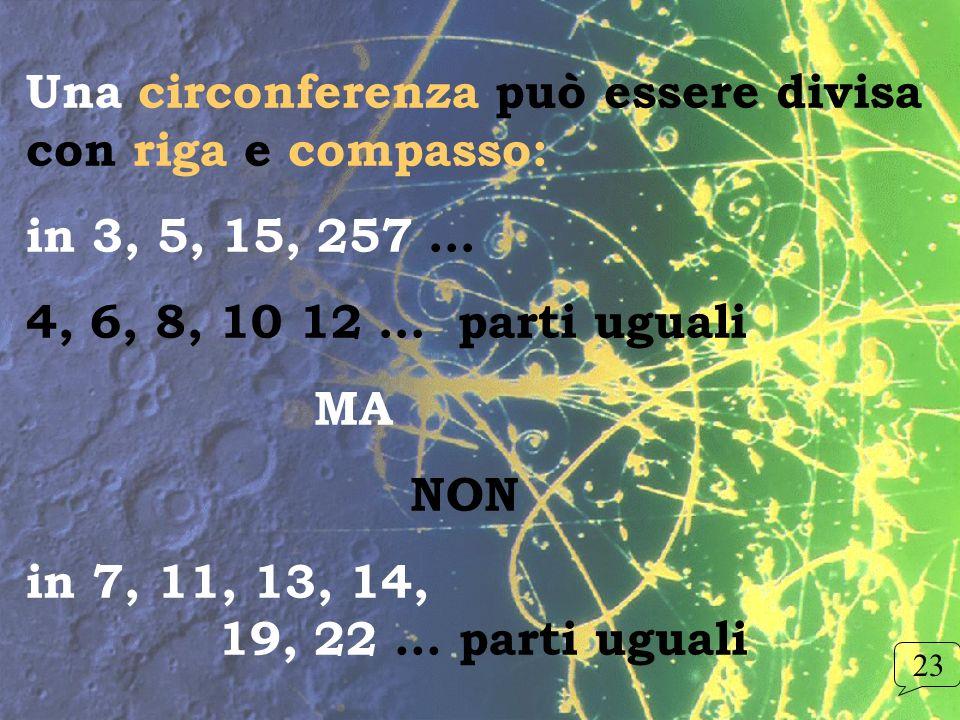 Una circonferenza può essere divisa con riga e compasso: in 3, 5, 15, 257 … 4, 6, 8, 10 12 … parti uguali MA NON in 7, 11, 13, 14, 19, 22... parti ugu