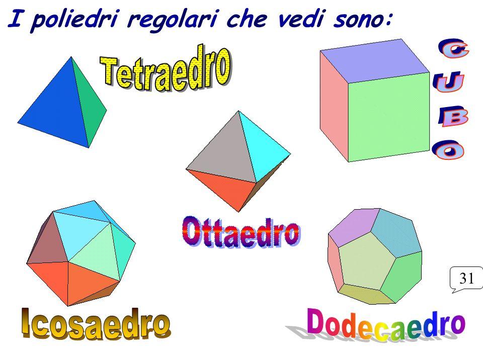 I poliedri regolari che vedi sono: 31