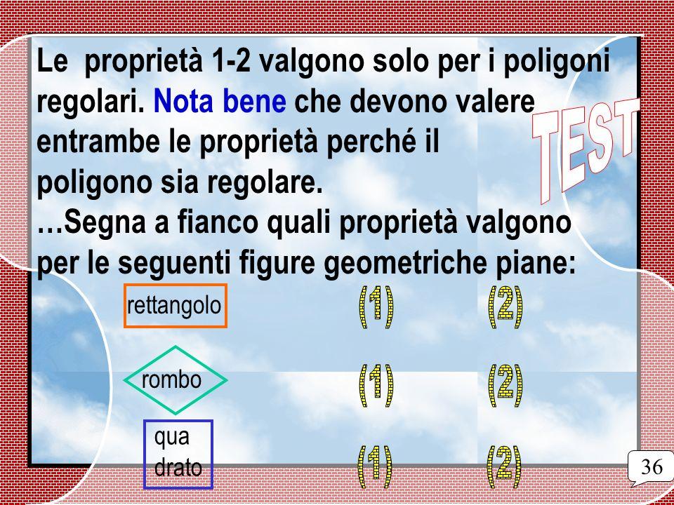Le proprietà 1-2 valgono solo per i poligoni regolari. Nota bene che devono valere entrambe le proprietà perché il poligono sia regolare. …Segna a fia