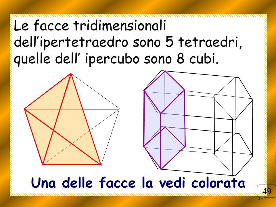 Le facce tridimensionali dellipertetraedro sono 5 tetraedri, quelle dell ipercubo sono 8 cubi. Una delle facce la vedi colorata 49