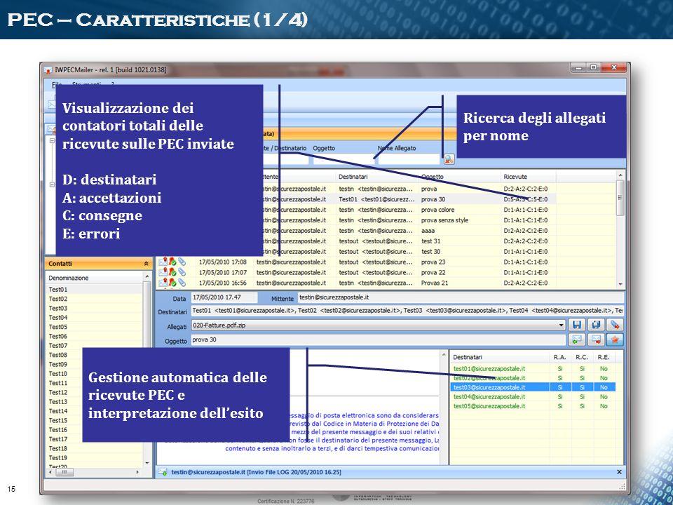 Visualizzazione dei contatori totali delle ricevute sulle PEC inviate D: destinatari A: accettazioni C: consegne E: errori Gestione automatica delle r