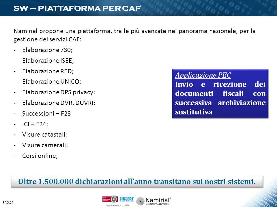 SW – PIATTAFORMA PER CAF Namirial propone una piattaforma, tra le più avanzate nel panorama nazionale, per la gestione dei servizi CAF: -Elaborazione