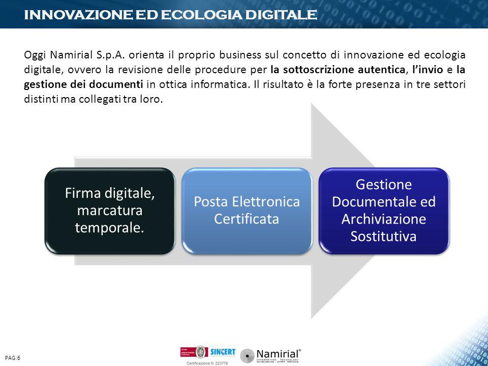 INNOVAZIONE ED ECOLOGIA DIGITALE PAG:6 Firma digitale, marcatura temporale. Posta Elettronica Certificata Gestione Documentale ed Archiviazione Sostit