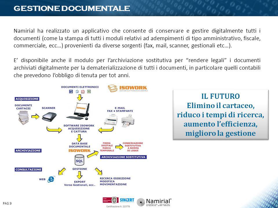 GESTIONE DOCUMENTALE Namirial ha realizzato un applicativo che consente di conservare e gestire digitalmente tutti i documenti (come la stampa di tutt