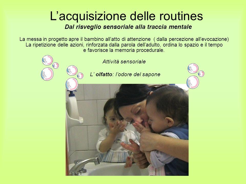 L olfatto: lodore del sapone La messa in progetto apre il bambino allatto di attenzione ( dalla percezione allevocazione) La ripetizione delle azioni,