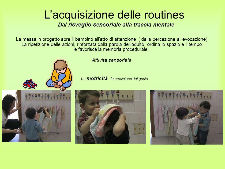 L a motricità : la precisione del gesto Lacquisizione delle routines Dal risveglio sensoriale alla traccia mentale La messa in progetto apre il bambin