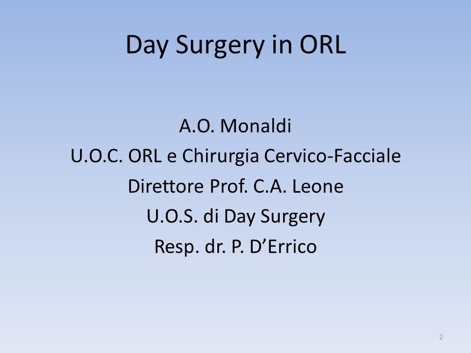 Day Surgery in ORL A.O. Monaldi U.O.C. ORL e Chirurgia Cervico-Facciale Direttore Prof. C.A. Leone U.O.S. di Day Surgery Resp. dr. P. DErrico 2