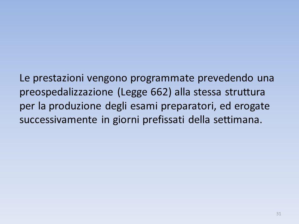 31 Le prestazioni vengono programmate prevedendo una preospedalizzazione (Legge 662) alla stessa struttura per la produzione degli esami preparatori,