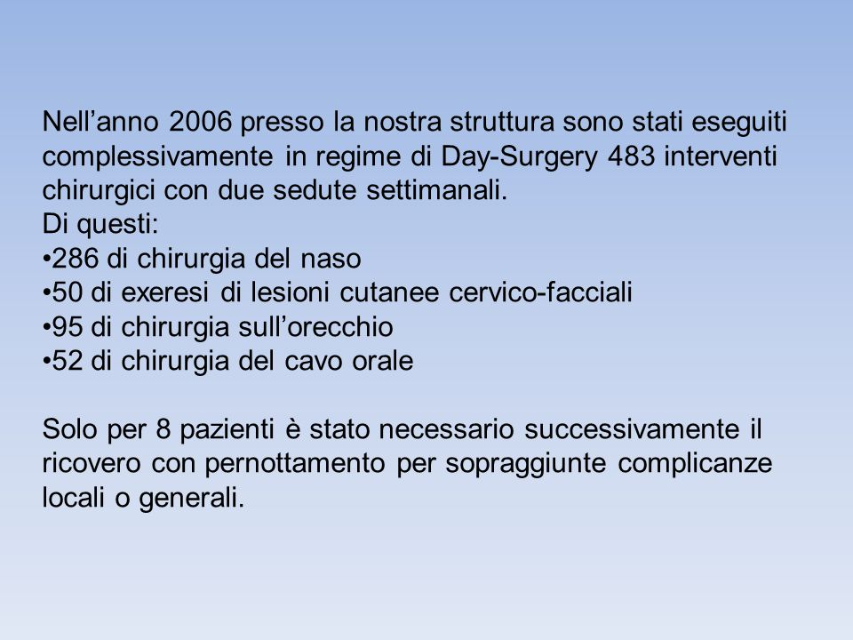 Nellanno 2006 presso la nostra struttura sono stati eseguiti complessivamente in regime di Day-Surgery 483 interventi chirurgici con due sedute settim