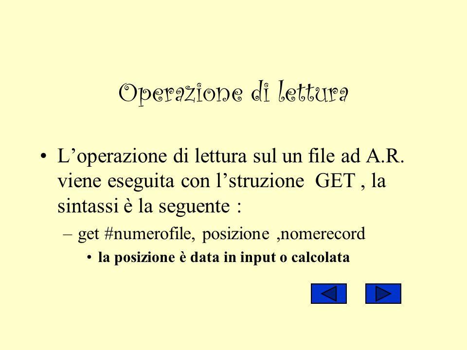 Operazione di lettura Loperazione di lettura sul un file ad A.R. viene eseguita con lstruzione GET, la sintassi è la seguente : –get #numerofile, posi