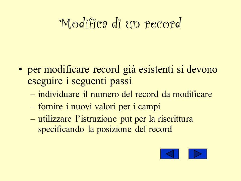 Modifica di un record per modificare record già esistenti si devono eseguire i seguenti passi –individuare il numero del record da modificare –fornire