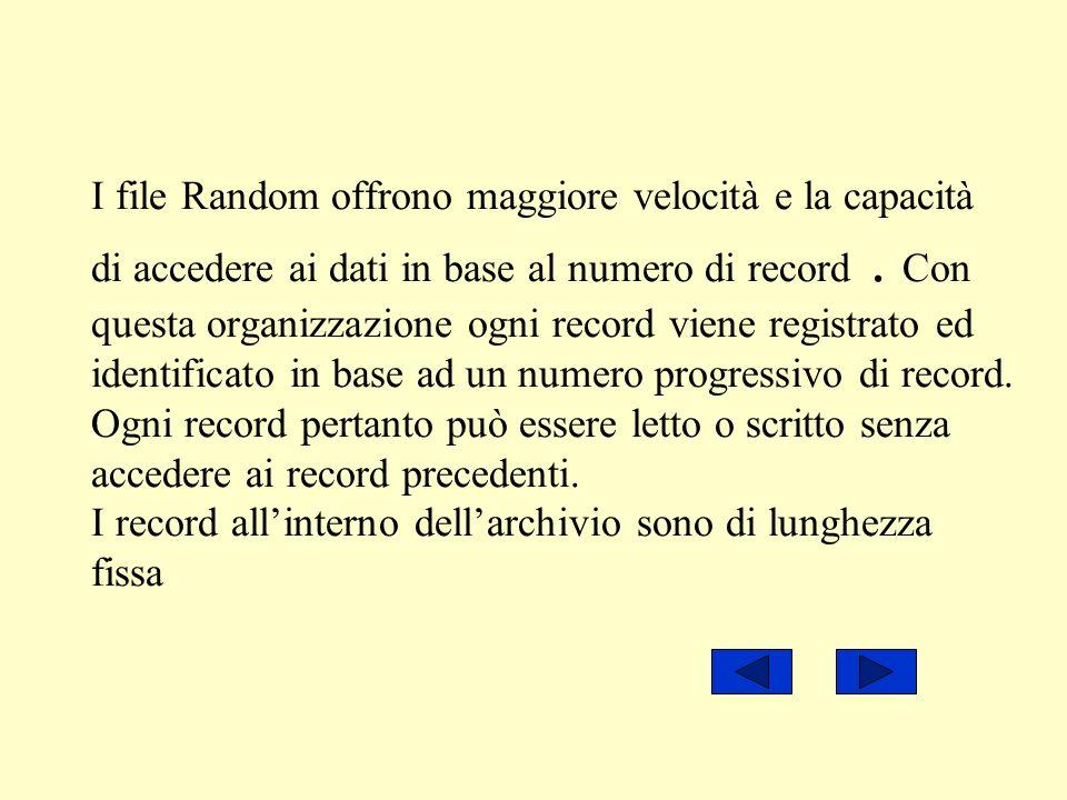 I file Random offrono maggiore velocità e la capacità di accedere ai dati in base al numero di record. Con questa organizzazione ogni record viene reg
