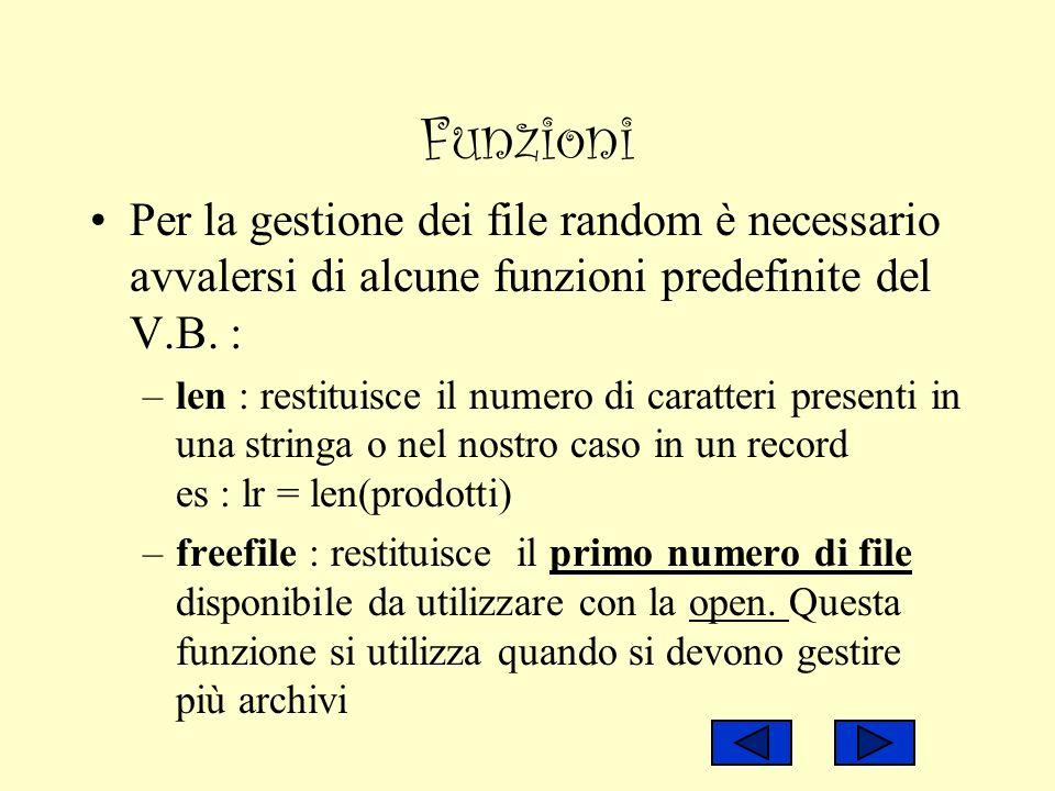 Funzioni Per la gestione dei file random è necessario avvalersi di alcune funzioni predefinite del V.B. : –len : restituisce il numero di caratteri pr