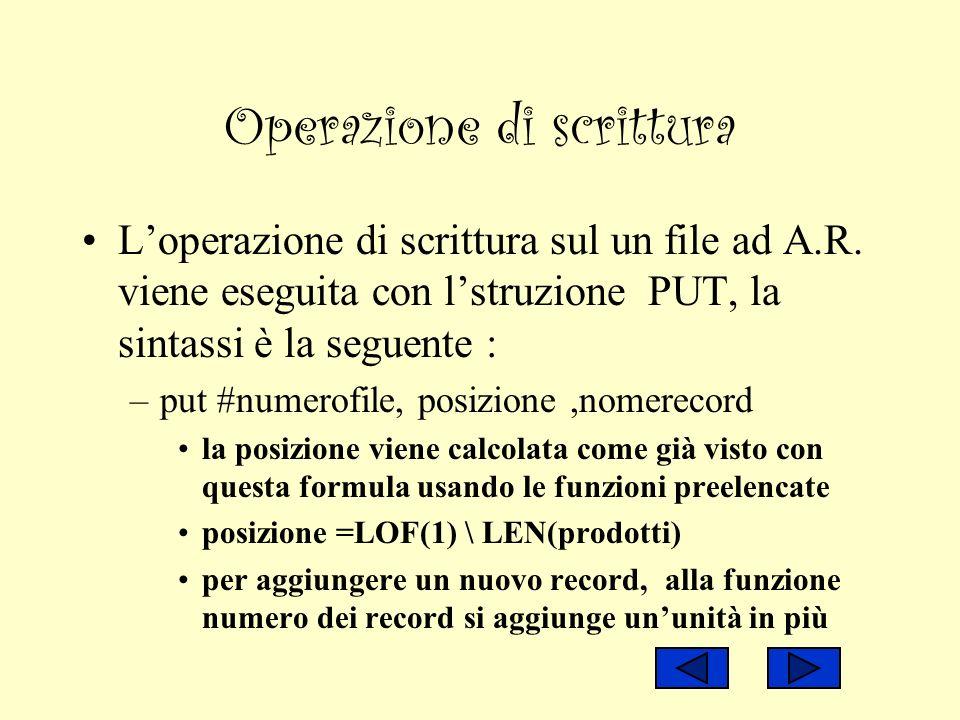 Operazione di scrittura Loperazione di scrittura sul un file ad A.R. viene eseguita con lstruzione PUT, la sintassi è la seguente : –put #numerofile,