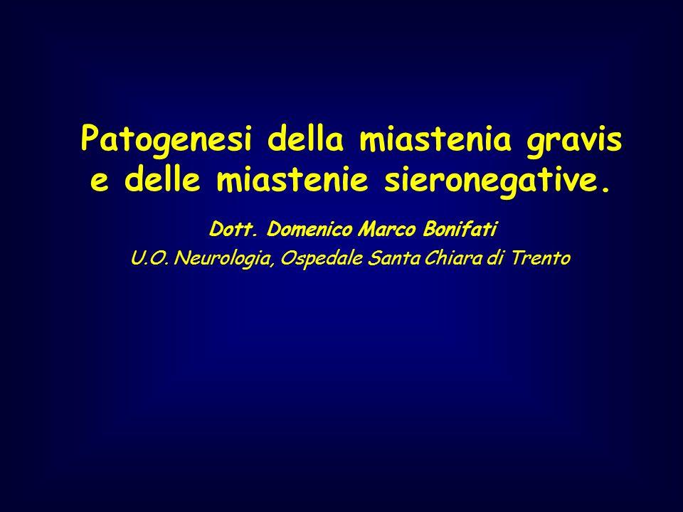 Patogenesi della miastenia gravis e delle miastenie sieronegative. Dott. Domenico Marco Bonifati U.O. Neurologia, Ospedale Santa Chiara di Trento