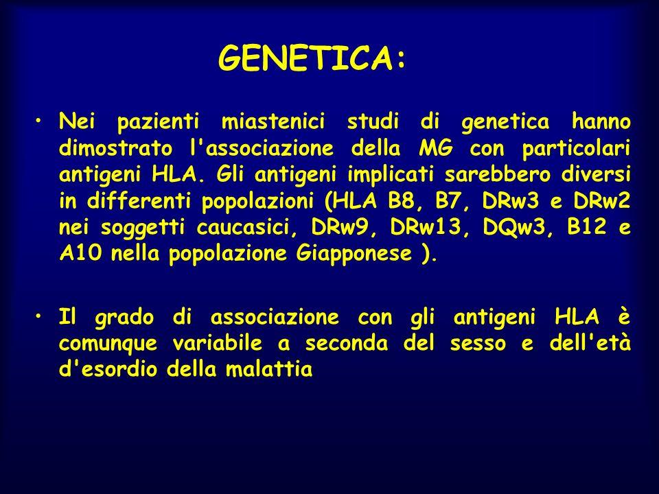 GENETICA: Nei pazienti miastenici studi di genetica hanno dimostrato l'associazione della MG con particolari antigeni HLA. Gli antigeni implicati sare