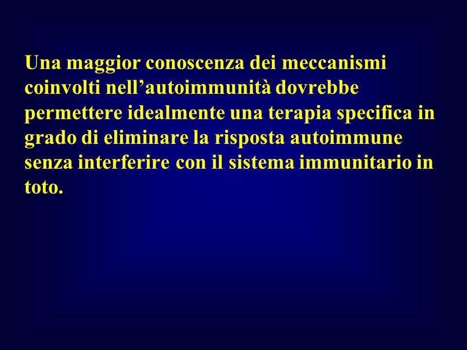 Una maggior conoscenza dei meccanismi coinvolti nellautoimmunità dovrebbe permettere idealmente una terapia specifica in grado di eliminare la rispost