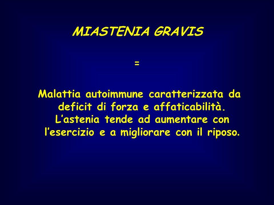 MIASTENIA GRAVIS = Malattia autoimmune caratterizzata da deficit di forza e affaticabilità. Lastenia tende ad aumentare con lesercizio e a migliorare