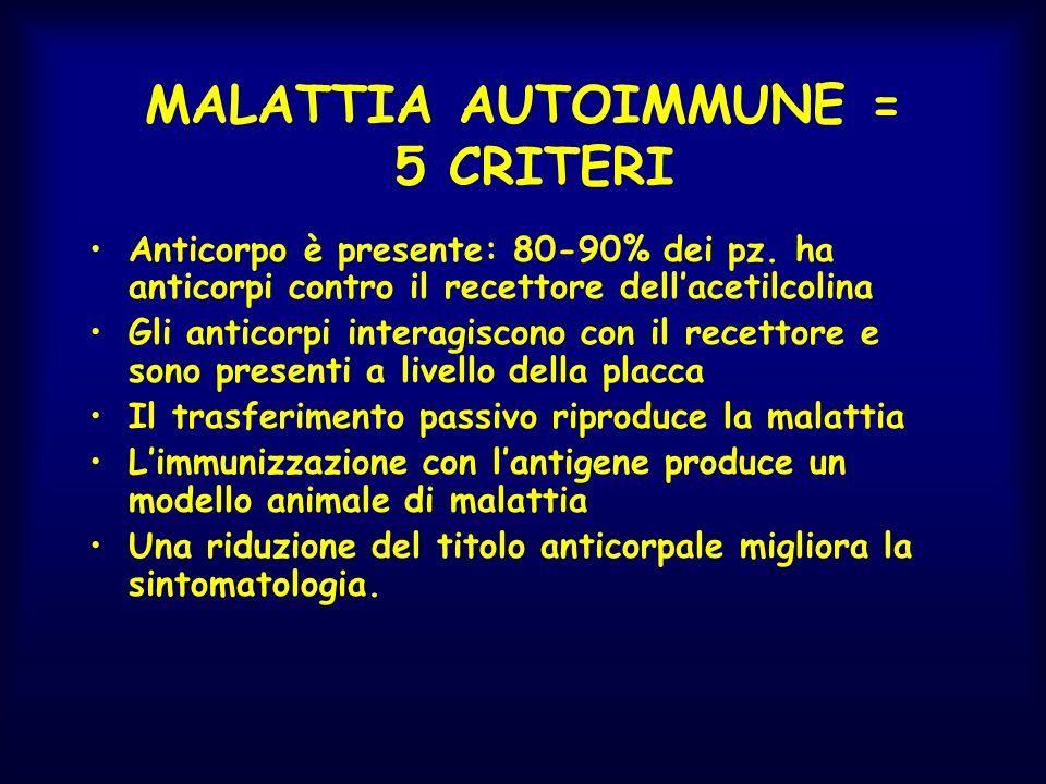 MALATTIA AUTOIMMUNE = 5 CRITERI Anticorpo è presente: 80-90% dei pz. ha anticorpi contro il recettore dellacetilcolina Gli anticorpi interagiscono con