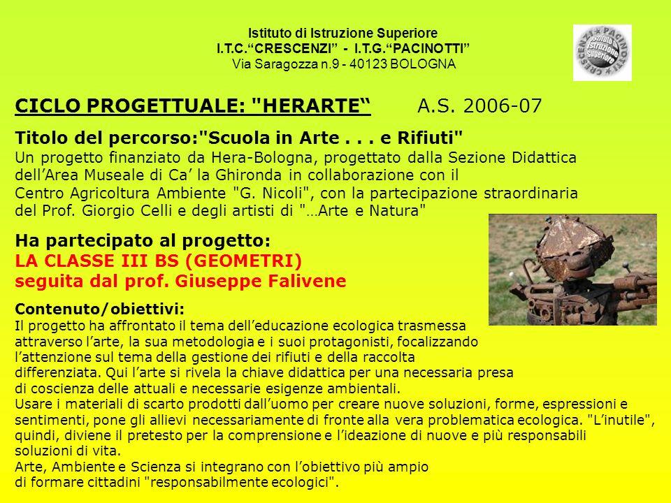 Istituto di Istruzione Superiore I.T.C.CRESCENZI - I.T.G.PACINOTTI Via Saragozza n.9 - 40123 BOLOGNA CICLO PROGETTUALE: