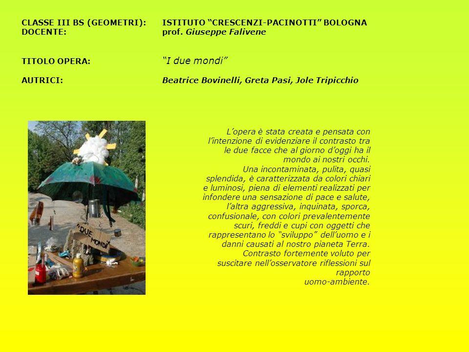 CLASSE III BS (GEOMETRI):ISTITUTO CRESCENZI-PACINOTTI BOLOGNA DOCENTE:prof. Giuseppe Falivene TITOLO OPERA: I due mondi AUTRICI: Beatrice Bovinelli, G