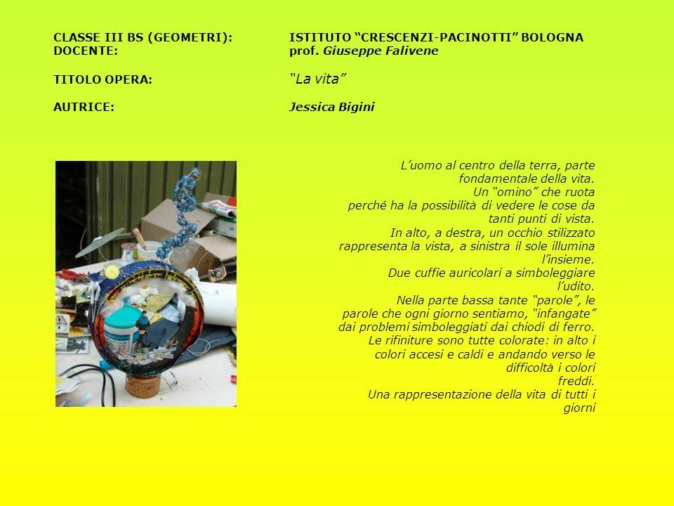 CLASSE III BS (GEOMETRI):ISTITUTO CRESCENZI-PACINOTTI BOLOGNA DOCENTE: prof. Giuseppe Falivene TITOLO OPERA: La vita AUTRICE:Jessica Bigini Luomo al c