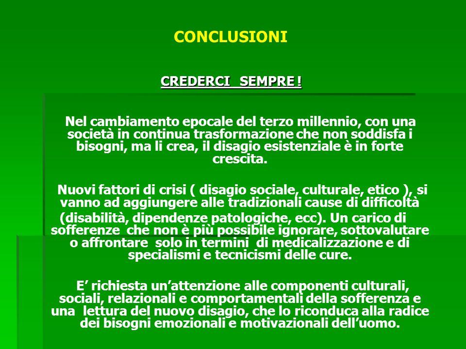 CONCLUSIONI CREDERCI SEMPRE .