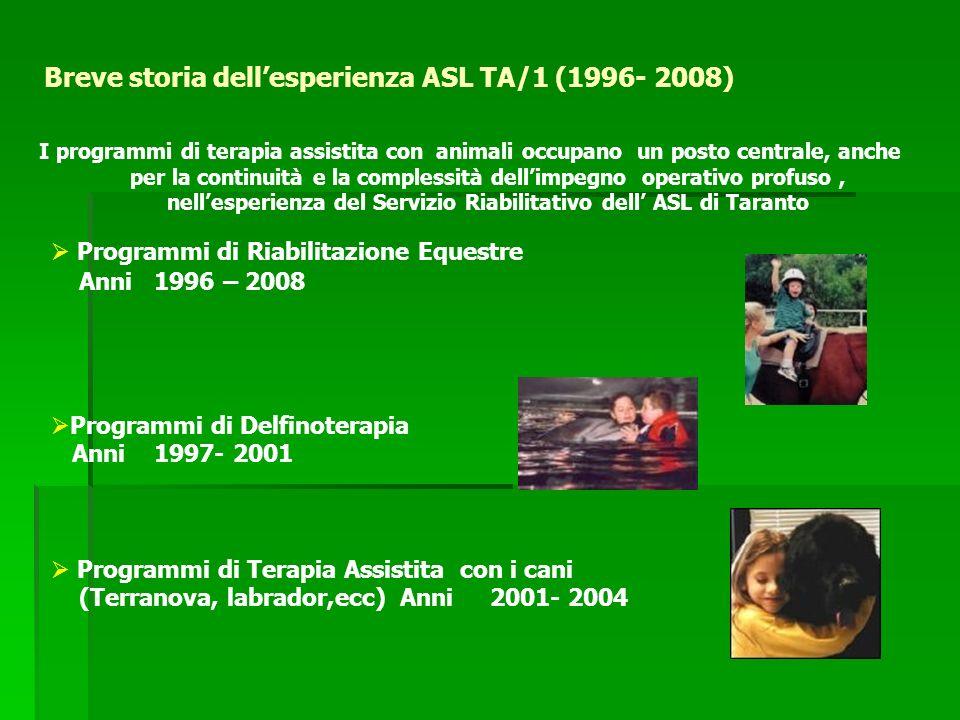 Breve storia dellesperienza ASL TA/1 (1996- 2008) I programmi di terapia assistita con animali occupano un posto centrale, anche per la continuità e la complessità dellimpegno operativo profuso, nellesperienza del Servizio Riabilitativo dell ASL di Taranto Programmi di Riabilitazione Equestre Anni 1996 – 2008 Programmi di Delfinoterapia Anni 1997- 2001 Programmi di Terapia Assistita con i cani (Terranova, labrador,ecc) Anni 2001- 2004