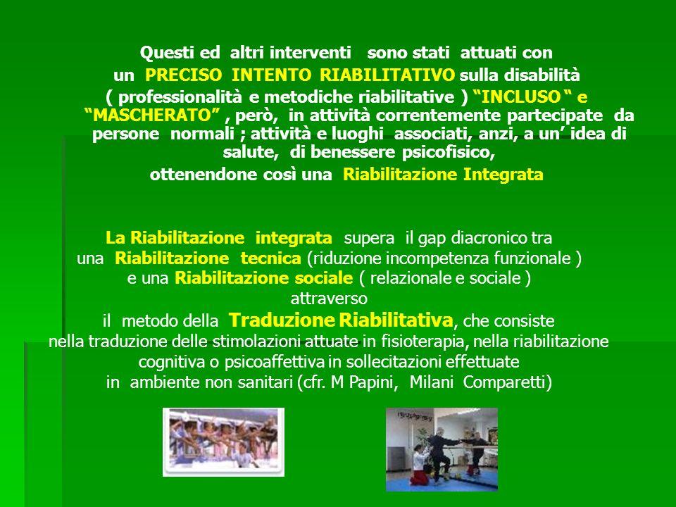 Questi ed altri interventi sono stati attuati con un PRECISO INTENTO RIABILITATIVO sulla disabilità ( professionalità e metodiche riabilitative ) INCL